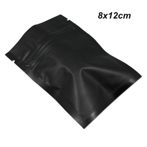 200PCS 8X12cm أسود غير لامع شقة رقائق الألومنيوم قابلة لإعادة الاستخدام احباط أكياس الغذاء الصف مايلر احباط الأغلاق الجاف تغليف أغذية حزمة الحقيبة مع سستة