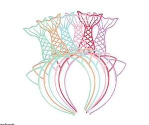 Пластмассовые русалки повязки на голову заколки для девочек подростки малышей дети повязка на голову рыбка девочки на день рождения аксессуары для волос конфеты цвета