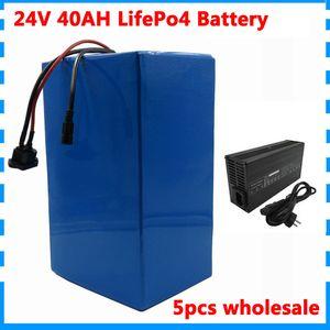 5adet 50A BMS 5A Ch ile toptan 1000W lifepo4 24V elektrikli bisiklet pil 24V 40Ah LiFePO4 pil elektrik üç tekerlekli balıkçı teknesi yat