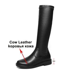 Meotina d'hiver Bottes d'équitation femmes genou plat Véritable cuir naturel Bottes Enfilez Chaussures à bout rond dames Taille Automne 34-39
