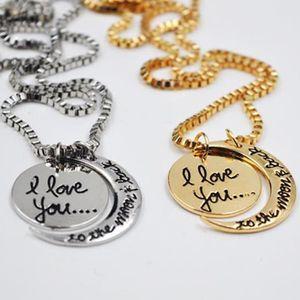 Luna collana I Love You To The Moon e posteriore per la mamma Sorella famiglia ciondolo partito Catena di favore doni che Dio argento XD21424