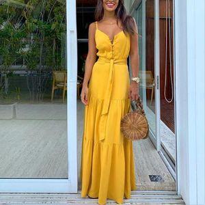 Moda Kadınlar Yaz Elbise Boho Stil Kolsuz strappy Kadın Kız Elbise V yaka Bandaj Parti Plaj Elbise Dişil les robe1