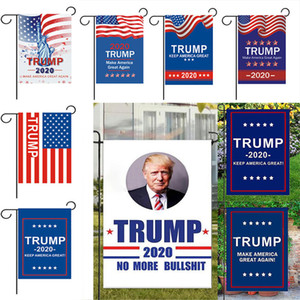 Trump Garden Flags 30* 45CM President General Election Banner 2020 Trump Flag Polyester Pennant Banner Flags Garden Decorations WX9-1374