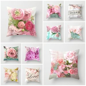 Fashion Rose Fillowcase Pattern Sofa Decorative chassi Cover for Home Decor 45x45cm Peach skin Pillow cover 14styles T2I5814