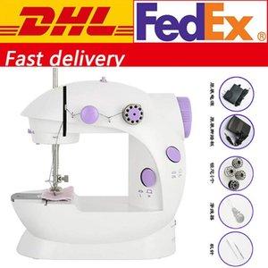 Envío libre de DHL mini portátil Pedal las máquinas de coser de doble velocidad doble rosca FY7043 eléctrica de múltiples funciones la banda de rodamiento de rebobinado de la máquina de coser