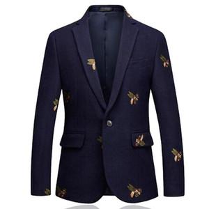 Bees Blazer Men Fashion Wedding Prom Blazers Single button For Male Stylish Suit Jacket 6XL EM206
