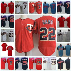 Mens # 2 Brian Dozier # 7 Joe Mauer # 22 Miguel Sano Jerseys genähtes ROT WEISS # 20 Eddie Rosario # 25 Byron Buxton Jersey S-3XL