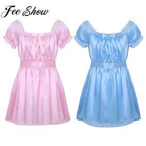 Herren Sexy Kostüme Dessous Plus Size Kurzarm Shiny Soft Satin Crossdress Dessous Kleid Für Männliche Sissy Lace Nachtwäsche J190614