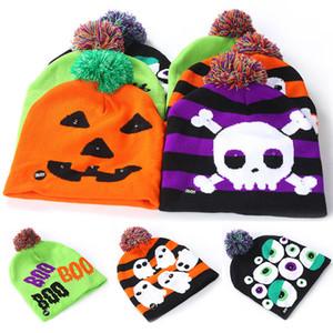 Sombreros de punto para niños de Halloween Led Baby Moms Gorros cálidos de invierno Gorros de ganchillo para calabaza Ghost Skull Festival Party Supplies WX9-1509