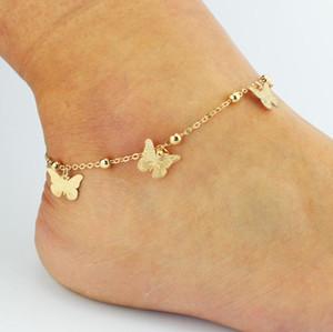 Hojas simples mariposa tobilleras sandalias de ganchillo descalzo Joya de pierna Nuevo Tobilleras En pie Pulseras de tobillo para mujer Cadena de la pierna