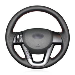 Para la cubierta del volante cosido a mano de cuero artificial negro Kia K5 / Optima coche