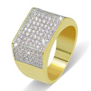 Männer Große Gold Überzogene Ringe Schmuck Grade Qualität Glarings Zirkonia Cluster Ringe Großhandel Klassische Hiphop Fingerringe
