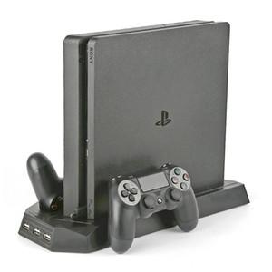 Yüksek kaliteli Çift Joystick Denetleyici Şarj Dock İstasyonu Sony Playstation 4 Slim Oyunları Konsolu için Dikey Soğutma Standı