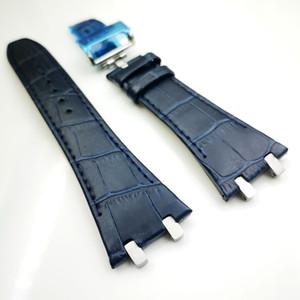 27 mm Azul oscuro Correa de cuero de alta calidad 18 mm Corchete de cierre Correa 4 Conector 4 Tornillo 2 Enlace para AP Royal Oak 15400/15300