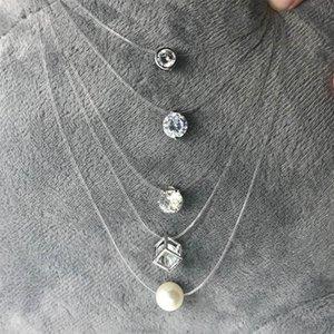 Colgante de circón moda Invisible transparente línea de pesca collar de plata invisible cadena collar mujeres Rhinestone choker collar