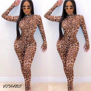Women jumpsuit long sleeves Leopard print bodycon clubwear party casual jumpsuit playsuit  BY