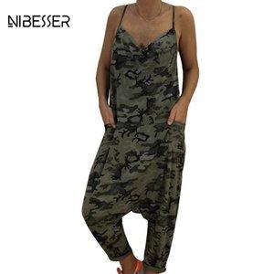 여성 Jumpsuits Rompers Loose Women Rompers 커프 길이 바디 수트 딥 브이 넥 Backless 섹시한 롱 팬츠 원피스 데님 Jumpsuit Playsuit