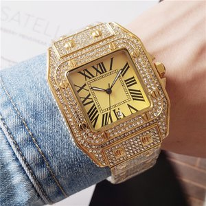 Fashoin marka erkekler bayan montre de luxe saatler saatler tüm elmas izle kaliteli tasarımcı dışarı buzlu kadınlar kuvars hareketi izlemek saatler