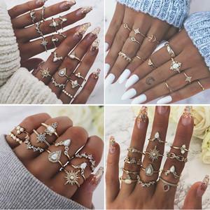 Mix Stili Bohemian Vintage Gold Crown Gocce d'acqua Stella Geometric Crystal Ring Set Women Charm Joint Ring Wedding Party Jewelry