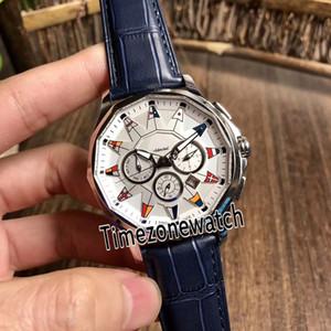 Yeni Admiral 'ın Kupası Legend 42 A984 / 03178 Beyaz Kadran 316L Çelik Kasa Otomatik Erkek İzle Mavi Deri Kayış Gents Ucuz Spor Saatler