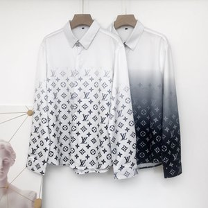 Brand Men's slim fit men's clothes baroque 3D letters Printed print long sleeve 3D designer shirts men's Medusa casual shirts
