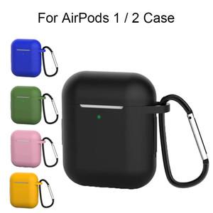 1.5mm mate de silicona AirPods 1 2 casos con llavero Diseñador Hebilla de gancho Aire Pod auriculares inalámbricos Bluetooth Tws Airpods2 Casos de carga