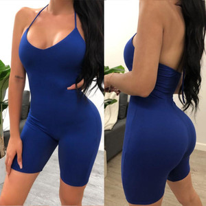 Donne Sexy Sport Playsuits Gym Set Yoga Tuta femminile senza maniche Halter aderente pagliaccetto Solid donne Backless Skinny tuta
