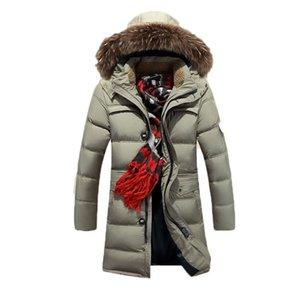 Winter Fashion Super Warm Long Men's Down Jacket Genuine Raccoon Fur Collar Hooded Outdoor Sport Parkas Plus Size