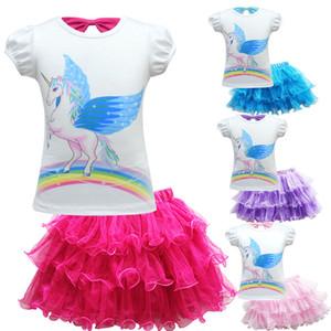 Девочки наряды дети единорог печати топ + пачка кружева сетки юбки 2 шт. / компл. 2019 летняя мода бутик детская одежда наборы C5692