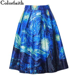 Fashion Satin Women Vintage Van Gogh Starry Sky Oil Painting 3D Print High Waist Skirt Rockabilly Tutu Retro Puff Skirt SK057 Y200704