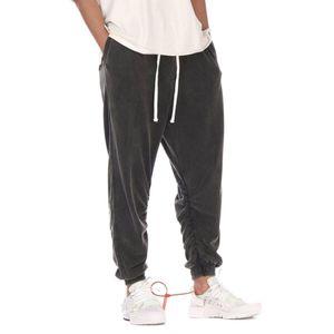 Hip Hop Vintage Black Мешковатые Sweatpants 2020 Мужчины Сыпучие Fit Ruched Jogger штаны Уличная
