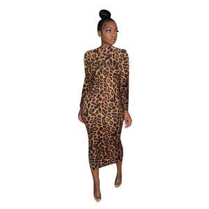 Women Dresses Fashion Leopard Pattren Natural Color Dresses Casual Long Sleeve Stand Collar Dresses Womens Designer Clothes