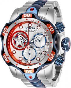 Invicta Modelo 27039 52,5 milímetros de aço inoxidável Edição Limitada Reserve Captian América Venom Marvel Capitão América Men relógio de quartzo