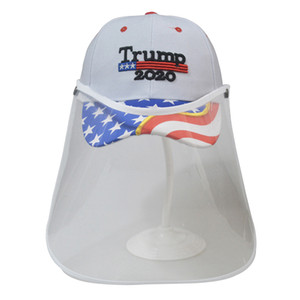 Trump Cap Mask Make America Great Again 3D Embroidery Baseball Hat Removable Outdoor Transparent Protective Hat Masks Face shield LJJA4043