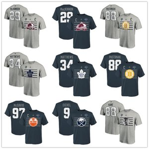 Nathan MacKinnon # 29 Patrick Kane # 88 Pastrňák # 34 Matthews # 97 McDavid # 9 Jack Eichel 2020 All-Star Game T-Shirt Stahl Fans Tops Tees Drucken