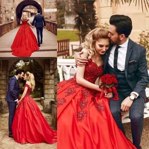 2019 красные атласные пышные свадебные платья с кружевными аппликациями с плеча свадебное платье для невесты