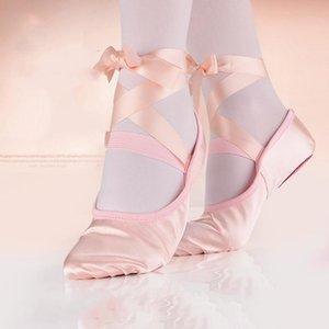 Ribbon Ballet Practice Shoes Lace-Up Yoga Shoes Soft Sole Dance for Girls Women