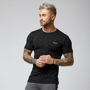 2019 gym new Fashion Sports T-shirt Men's Fashion Running Outdoor Indoor Fitness Pure Cotton Short Sleeves gym T-shirt