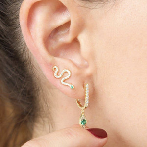 cute snake climber earring Gold plated vermeil 925 sterling silver pave white green cz lovely sweet girl dainty earrings