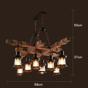 Retro Industrial Solid Wood Chandeliers American Rural LOFT Bar Wooden Lamps For vintage home decor luster Chandelier Lighting