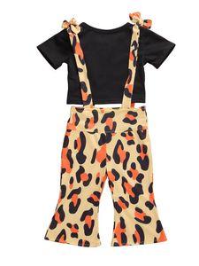 Pudcoco 1-6Y Summer Infant ребёнки Одежда Комплекты с коротким рукавом Черный футболки Топы + леопардовый Комбинезоны Брюки Детская Одежда
