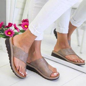 Sandálias femininas 2020 Moda Verão Flats Cunhas aberto Toe tornozelo Praia Tênis Roman Chinelos Sandálias para as Mulheres # R10