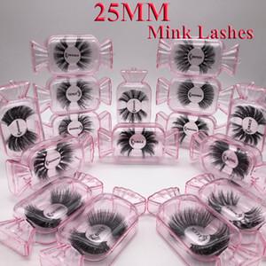 New 3d Mink cílios 25 mm de comprimento Mink cílios 5D Dramatic Grosso Mink Lashes Handmade False maquiagem pestana Eye Maquiagem 9D Series e 9D