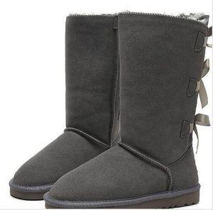 Hohe Stiefel WGG Bowtie Kristall Frauen Australien Klassische Mode Marke Knie Stiefeletten Schwarz Grau Kastanie-Frauen-Mädchen-Schnee-Aufladungen