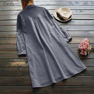 Summer Womens Checked Shirt Dress 2020 Vintage Short Vestido Robe Femme Long Shirts For Women Beach Sundress Button Party Dress