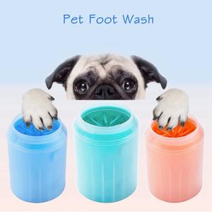 Lavado del gato del perro de silicona Peines pata del animal doméstico Lavadora pie limpio Copa limpieza con herramienta plástica suave cepillo rápidamente lavado de pies Cubo LJJP27