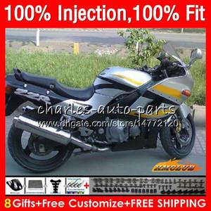 Injection Pour KAWASAKI ZZR400 argenté ZZR400 chaud 99 00 01 02 03 04 05 06 07 85HC13 ZZR 400 1999 2000 2001 2002 2003 2004 2005 2007 Carénage