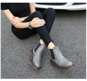kısa botlar kadınlarla yuvarlak kafa PU deri çizmeler düz dipli sürtme 2019 kış ayak bileği botlar İngiliz rüzgar gündelik