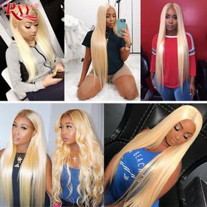 Malaisienne droite Lace Front perruques de cheveux humains 613 Blonde Lace Wig Cheveux Guleless Pre plumé Lace Front Wigs avec bébé gros cheveux