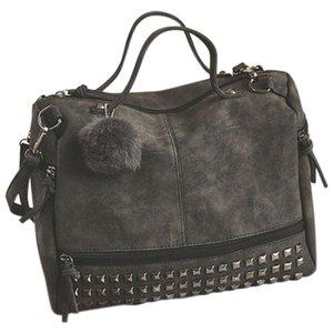 Vintage PU кожа женские сумки Rivet Большие женские сумки для волос шарика плеча мешок мотоцикла Сумка Топ-Handle
